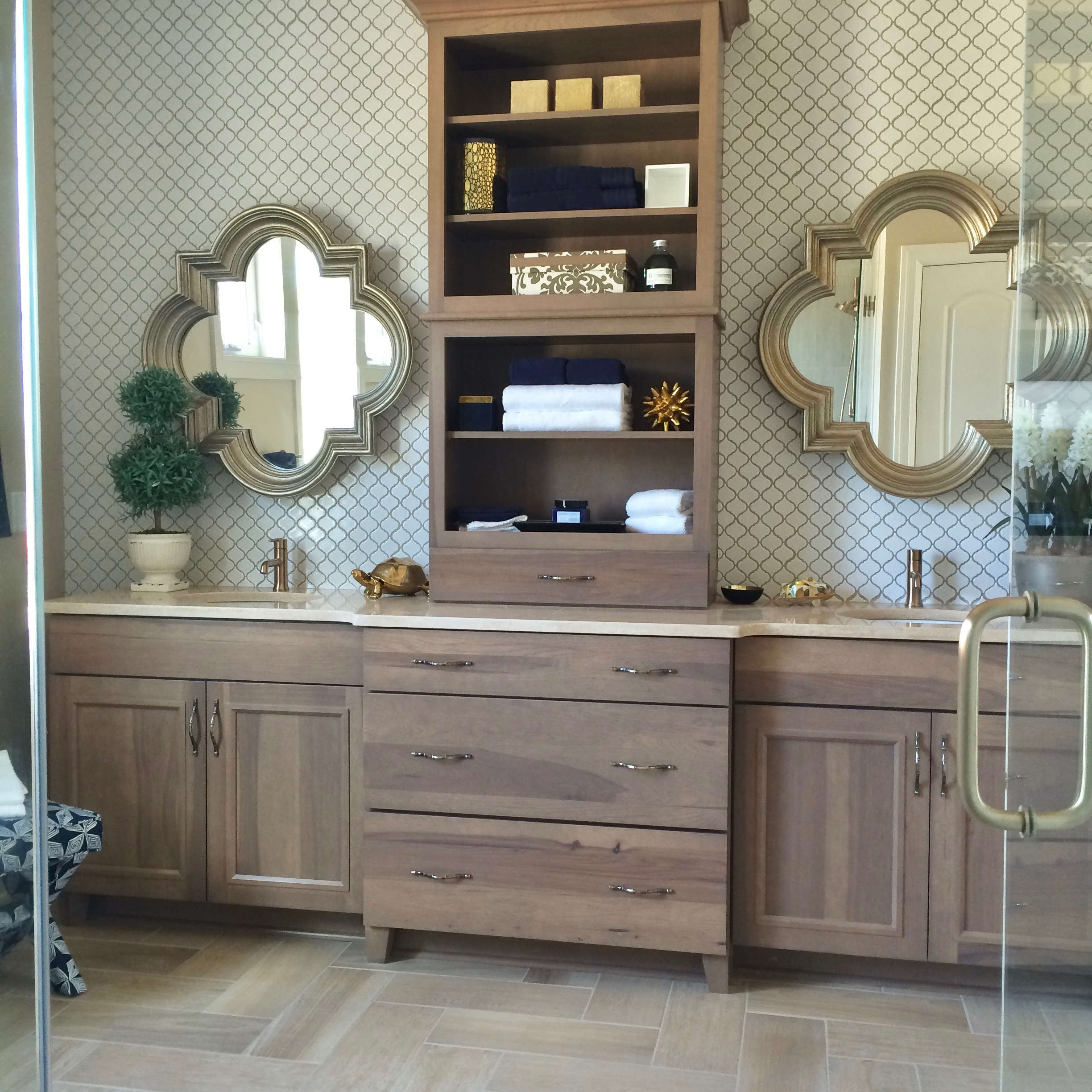 amazing-bathrooms-luxurious-bathroom-tile-vanity-Wilshire-Hill-Pittsford-NY-gorgeous-quatrefoil-mirror-gold-brushed-moroccan