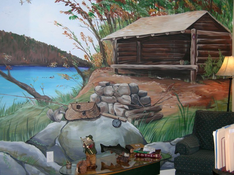 Adirondack mountains lean to mural