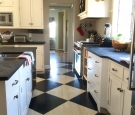 black and white checkered floor