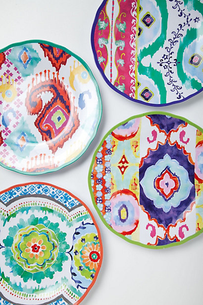 Mix and match watercolor Ikat melamine dessert plates for an eclectic look  sc 1 st  Meme Hill Studio & Melamine Madness: Fall in Love with non breakable colorful dinnerware