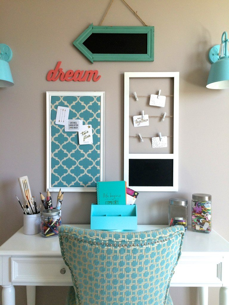 Colour For Study Room: Turquoise Teen Room And Organized Desk/craft Table