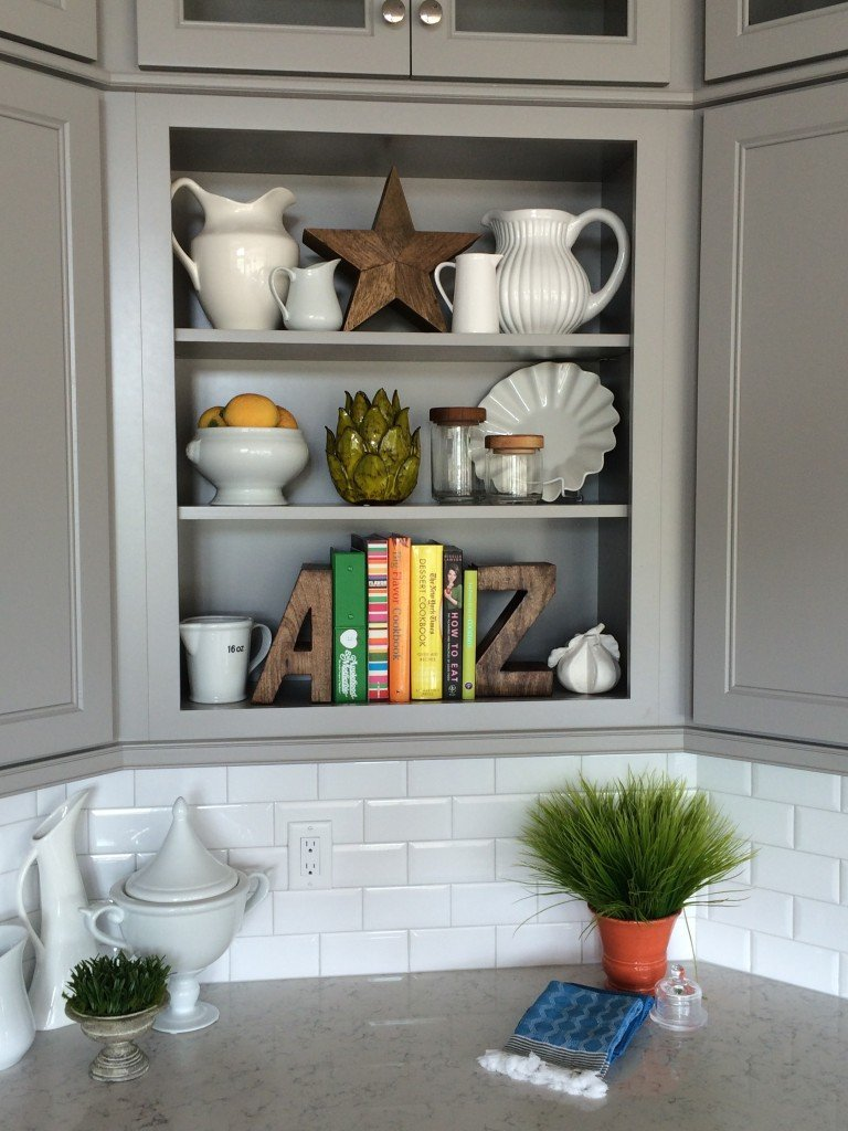 kitchen shelving styling by MemeHill.com