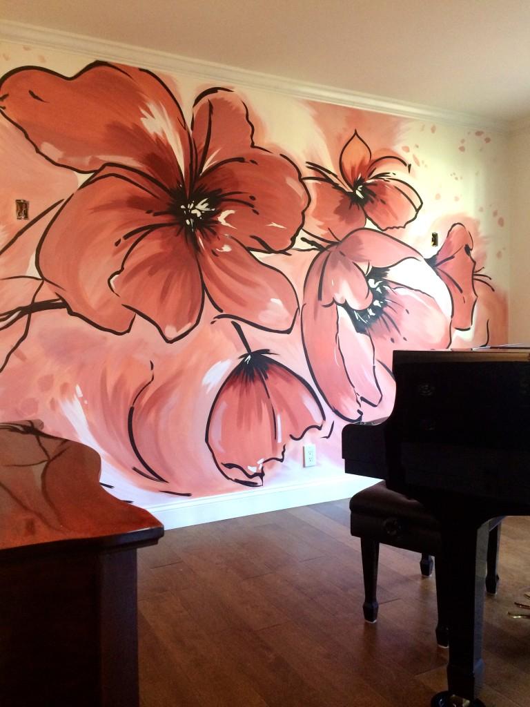 modern poppy floral mural by Meme Hill Studio