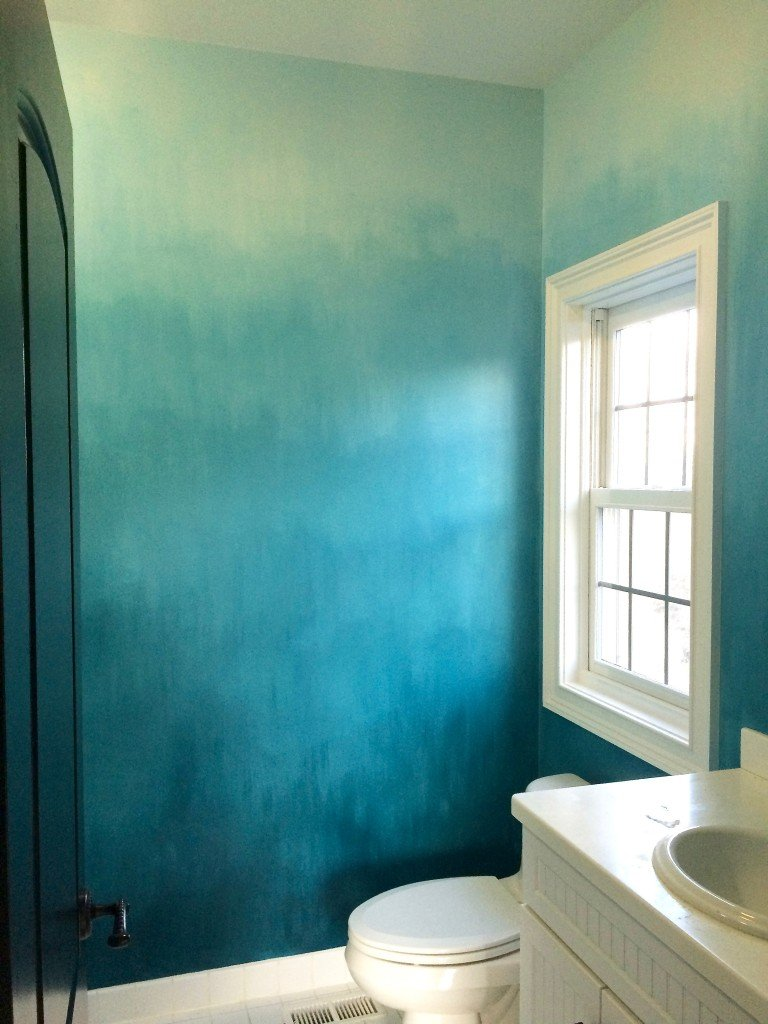Operation Ombre Turquoise Dip Dyed Painted Wall Treatment Tutorial - Ombre wall painting technique