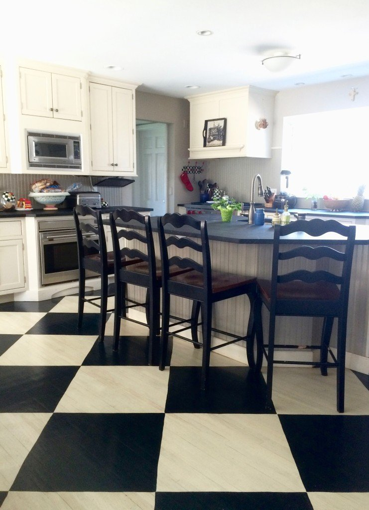 Farmhouse Painted Black and White Checkered Floor by Meme Hill Studio