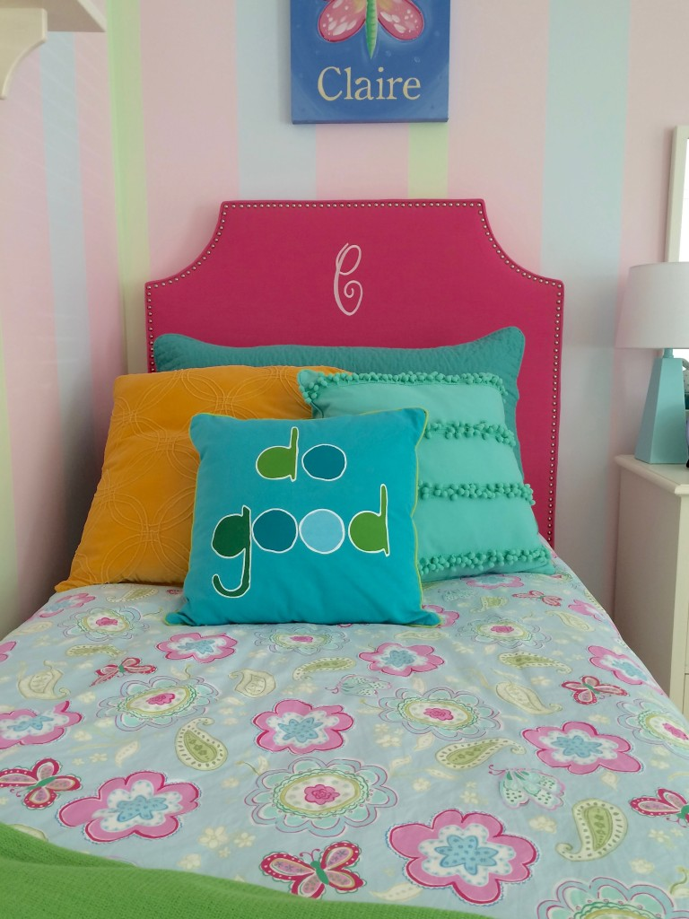 sherbet sweet twin girls bedroom makeover painted stripes cute decor twin girls room makeover with memehill com