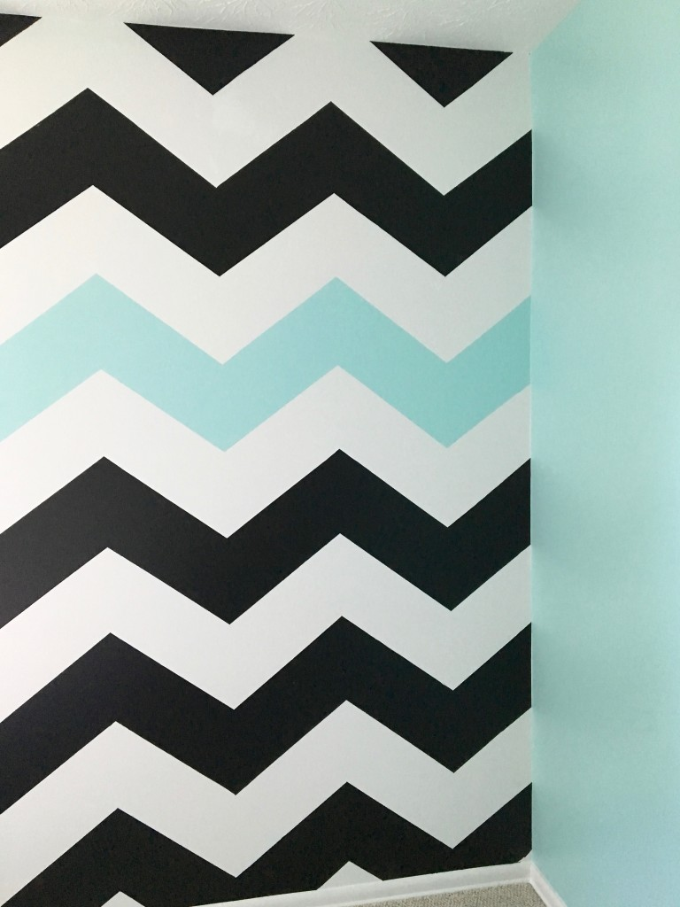 Easy tutorial on How To Paint Chevron Stripes: Black, White & Turquoise