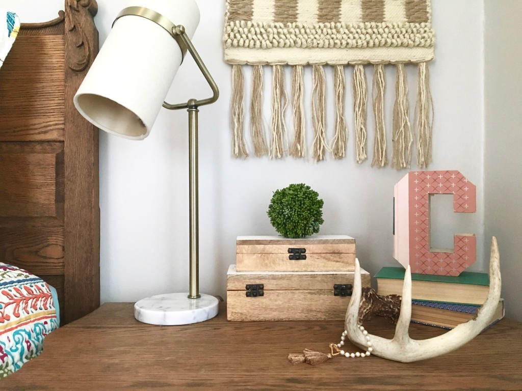 boho_chic_bohemian_bedding_bedroom_teen_makeover_elepahont_decor_adventure_bedding_arrows_Gallery_wall_wooden_rustic_monogram_HOmeGoods_macrame_antlers_monogram_book_cutouts