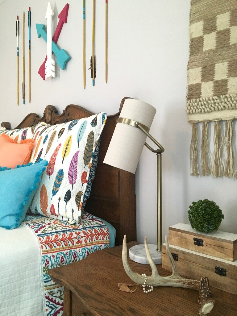boho_chic_bohemian_bedding_bedroom_teen_makeover_elepahont_decor_adventure_bedding_arrows_the_dotted_bow_pillow_macrme_antlers_feathers
