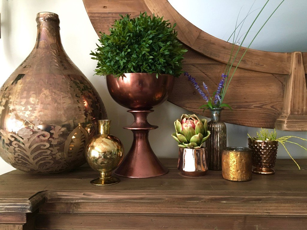 fall-home-tour-traditonal-decor-dining-room-copper-vases-pumpkins-mantel-ideas-floral