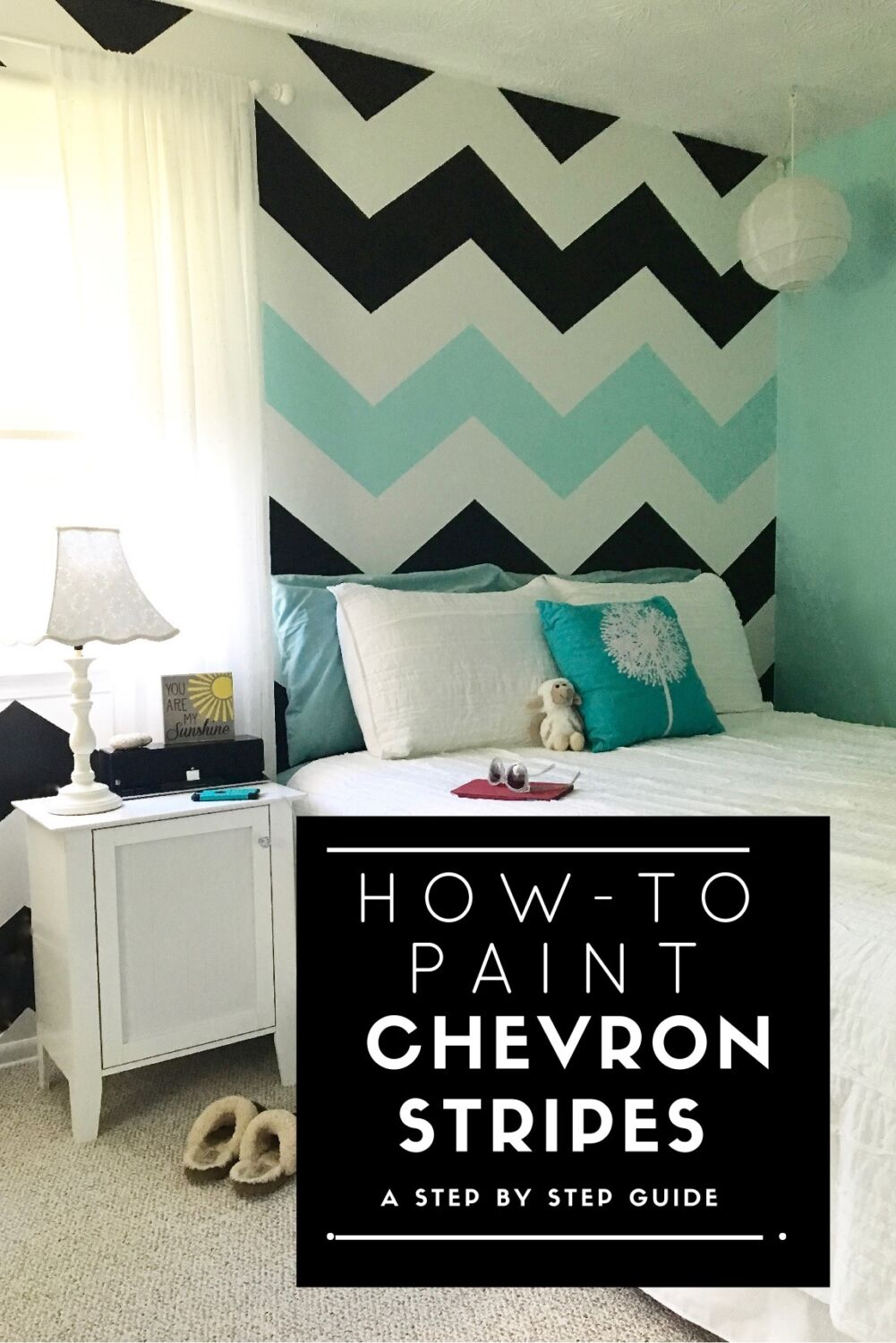 Easy tutorial on how to paint chevron stripes black for Bedroom stripe paint ideas