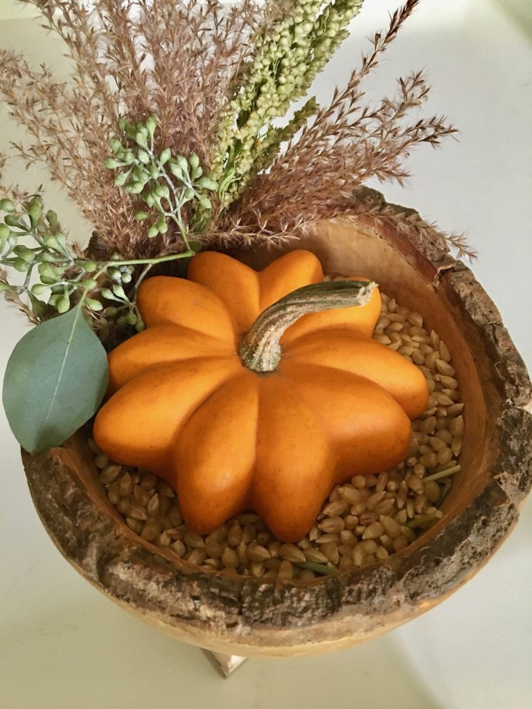 styling_a_coffee_table_fall_pumpkins_tray_rustic_cottage_fireplace_mantel_decor_greens
