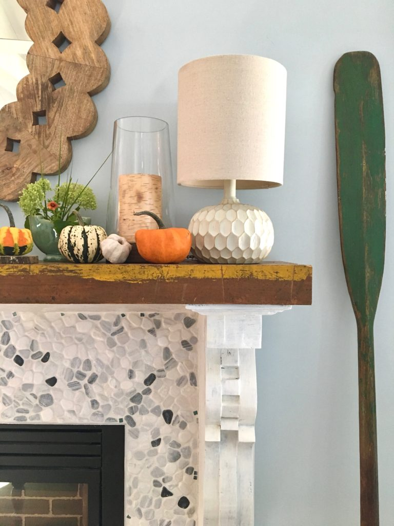 styling_a_coffee_table_fall_pumpkins_tray_rustic_cottage_fireplace_mantel_decor_nautical