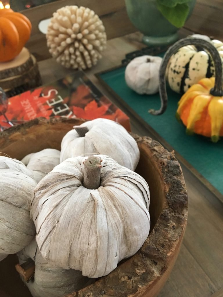 styling_a_coffee_table_fall_pumpkins_tray_rustic_cottage_fireplace_mantel_decor_white