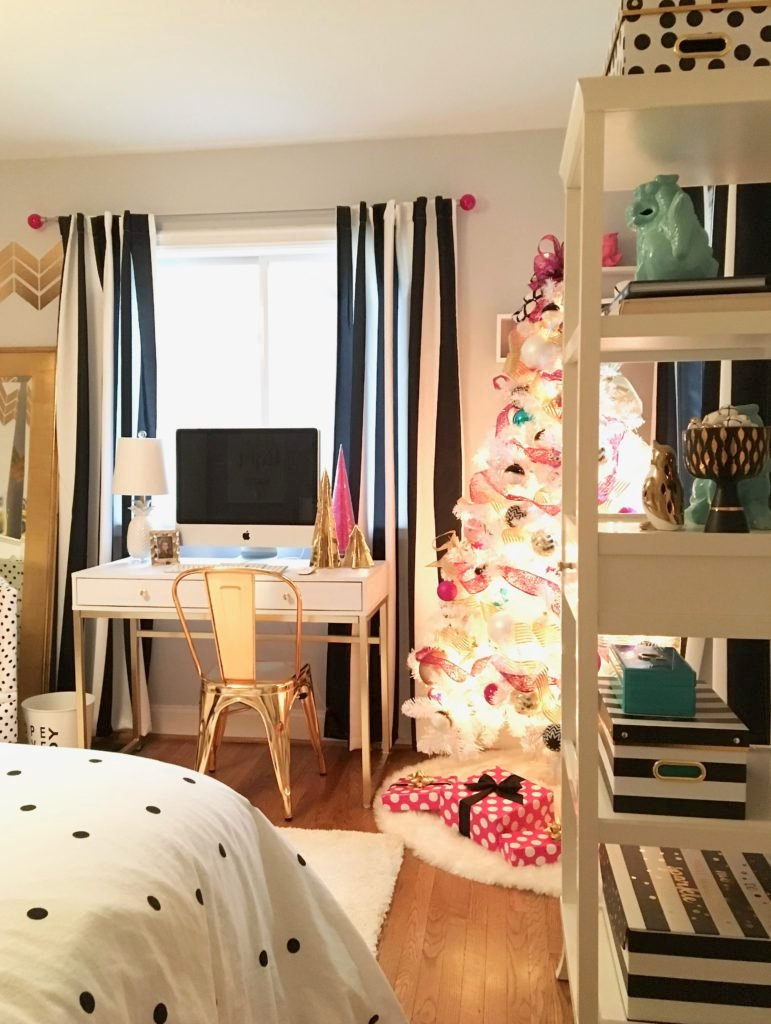 meme-hill-black-white-christmas-tree-teen-room-pink-ornaments-raymour-flanigan-elio-gold-desk-polka-dots-stripes-curtains