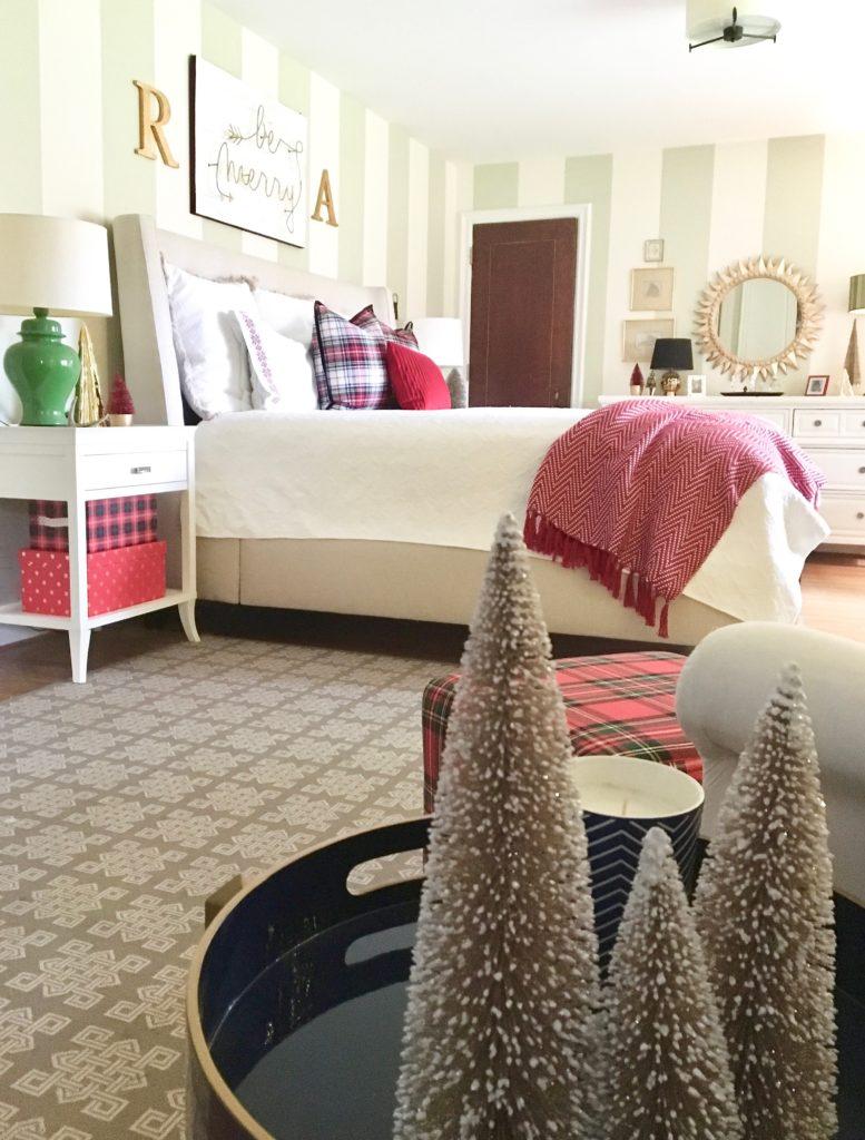 christmas-decorating-ideas-master-bedroom-homegoods-plaid-tree-cozy-bottle-brush-sign