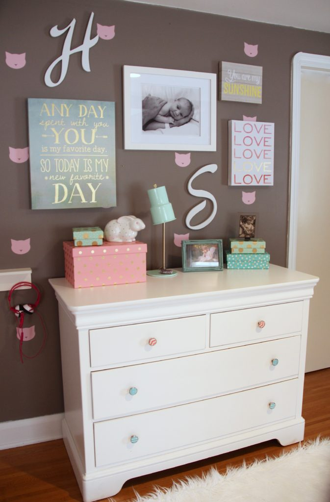 Sherwin_williams_poised_taupe_color_year_bedding_gold_land_nod_Homegoods_target_Pink-Mint_green_girls_room_Cute_fabulous_art-gallery-wall-nursery