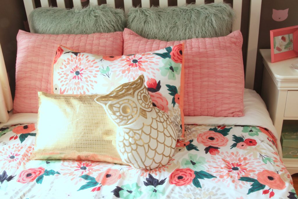 Sherwin_williams_poised_taupe_color_year_bedding_gold_land_nod_Homegoods_target_Pink-Mint_green_girls_room_Cute_fabulous_owl_pillow-sequin-faux-fur