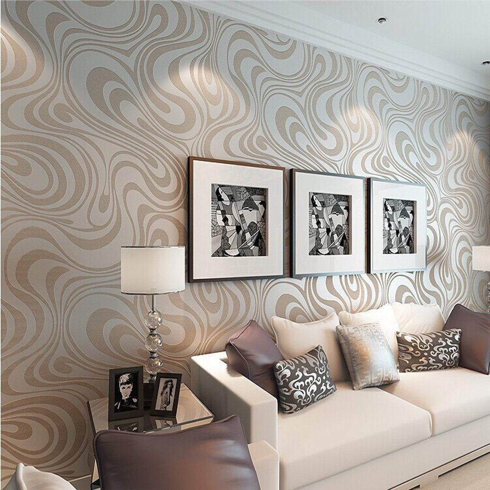 Mod Retro Chic Metallic Wavy Wallpaper Trends Home