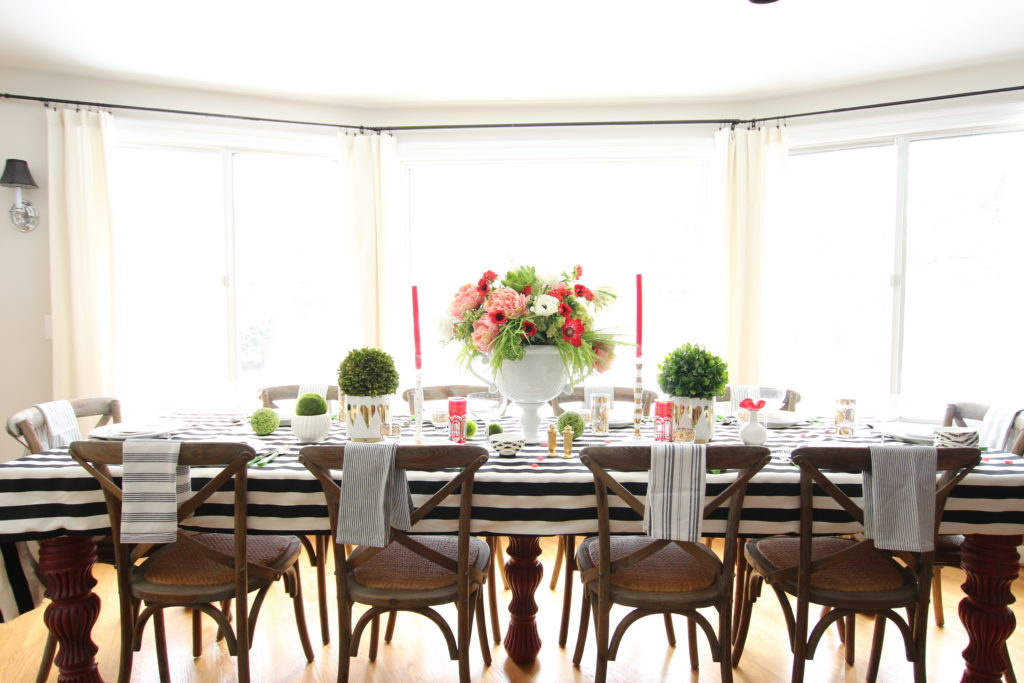 setting_the_table-Valentine's_day_black_white_stripes_gold_dinner_entertaining_Love_flowers_hearts-farmhouse-table