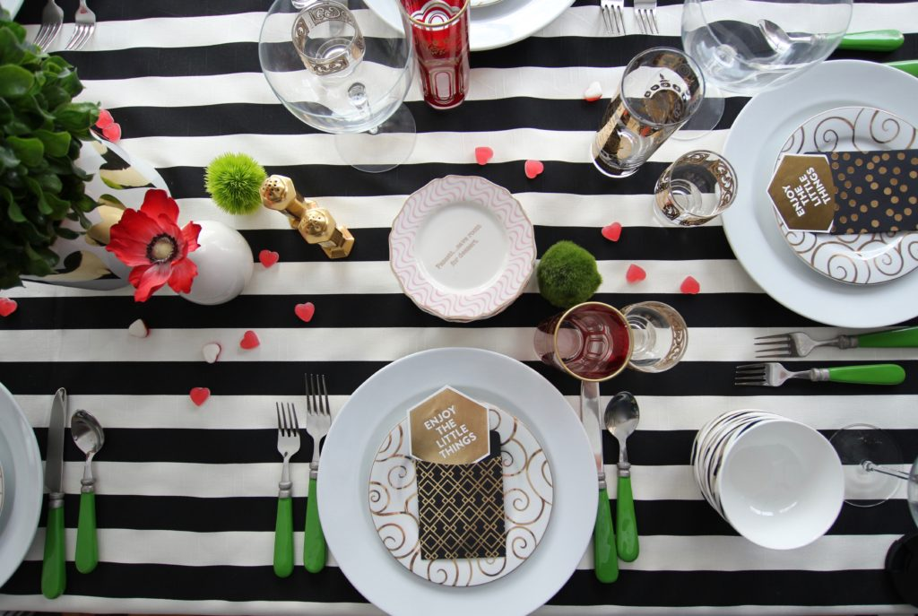 setting_the_table-Valentine's_day_black_white_stripes_gold_dinner_entertaining_Love_flowers_hearts_Candy