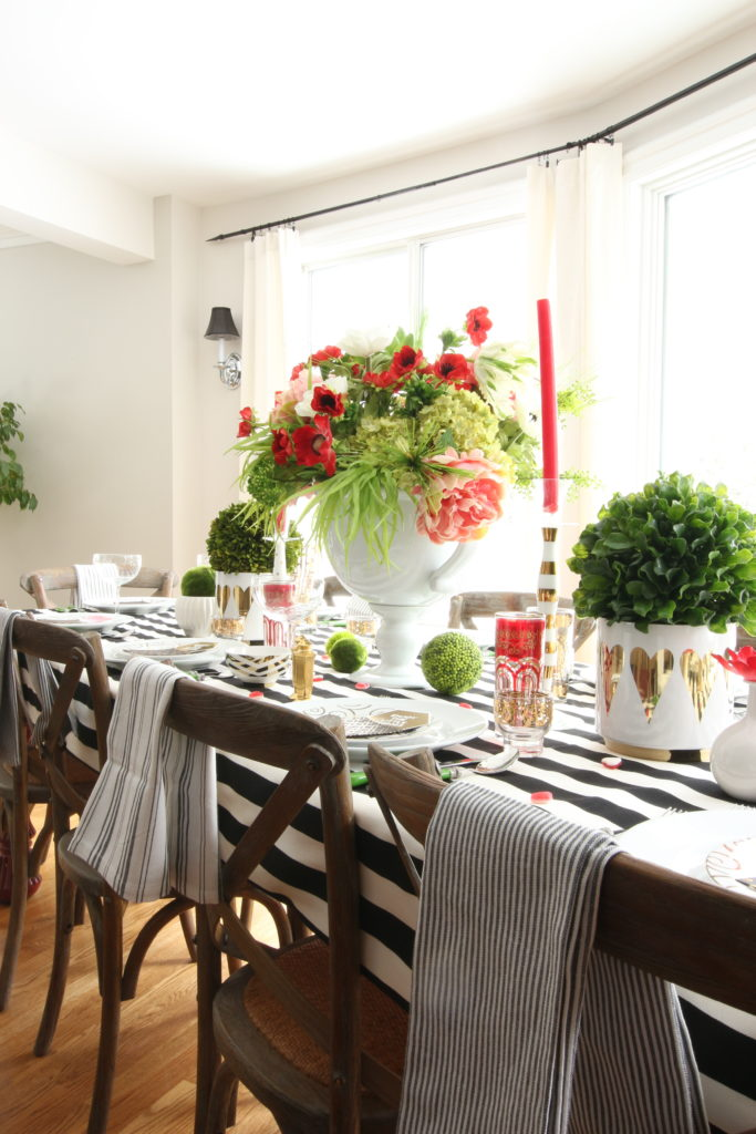 setting_the_table-Valentine's_day_black_white_stripes_gold_dinner_entertaining_Love_flowers_hearts_Greenery