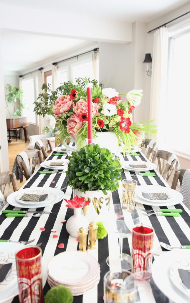 setting_the_table-Valentine's_day_black_white_stripes_gold_dinner_entertaining_Love_flowers_hearts_family_whimsical