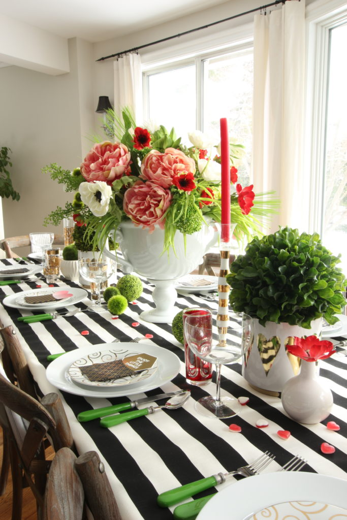 setting_the_table-Valentine's_day_black_white_stripes_gold_dinner_entertaining_Love_flowers_hearts_floral_arranging-_peonies