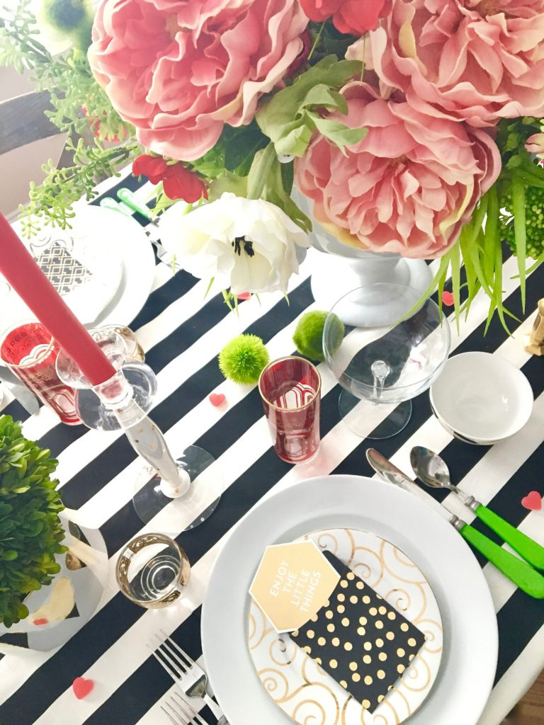 setting_the_table-Valentine's_day_black_white_stripes_gold_dinner_entertaining_Love_flowers_hearts_polka_dots_Michaels