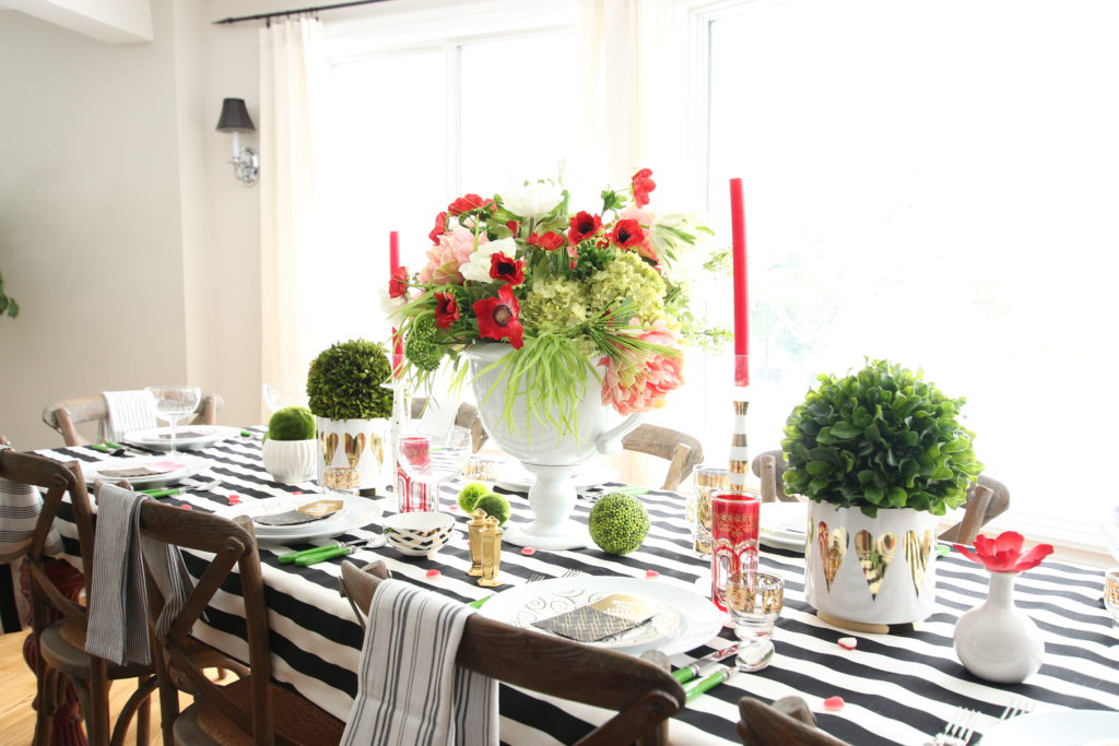 setting_the_table-Valentine's_day_black_white_stripes_gold_dinner_entertaining_Love_flowers_hearts_wisteria_gifts
