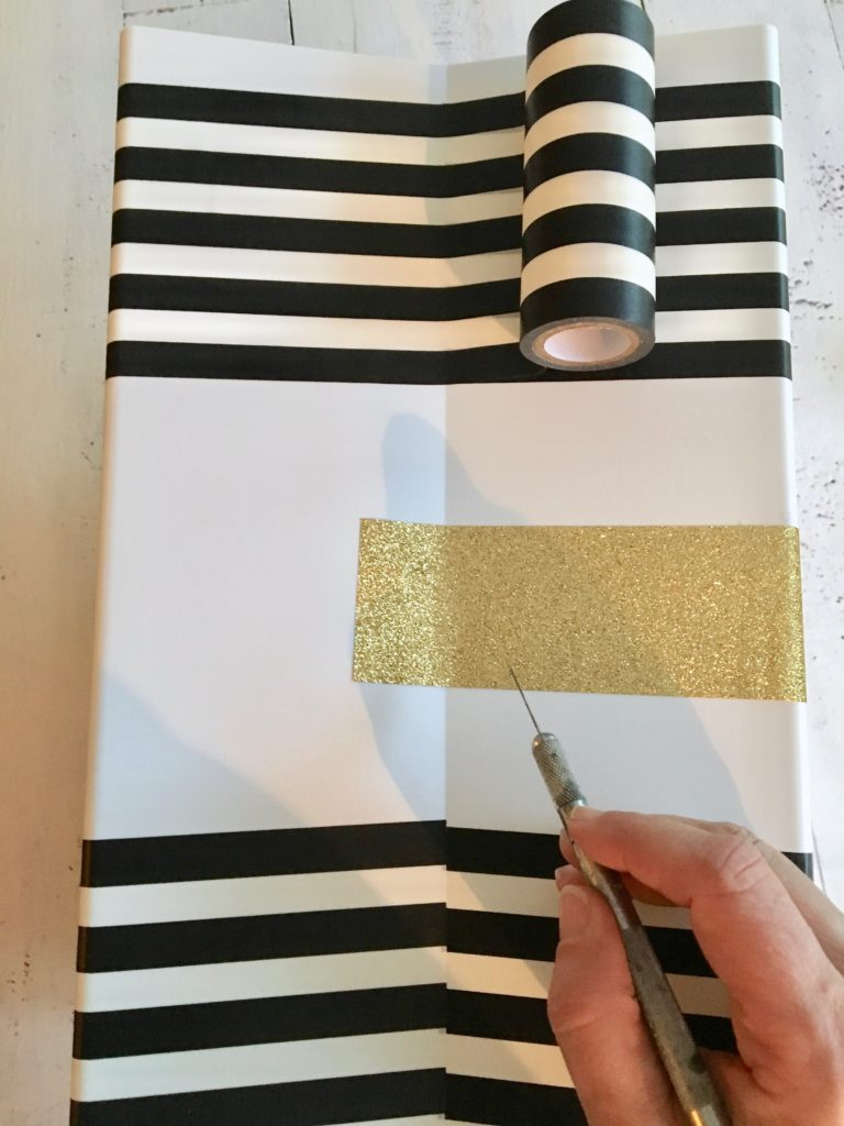 REbin-earth_day_recycling_bin_cool-stylish_washi_tape_DIY-black_white_decorate_michaels_gold_glitter_recycle_coolest
