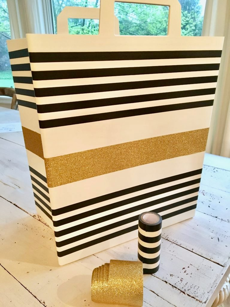 REbin-earth_day_recycling_bin_cool-stylish_washi_tape_DIY-black_white_decorate_michaels_gold_glitter_stripes_shopping