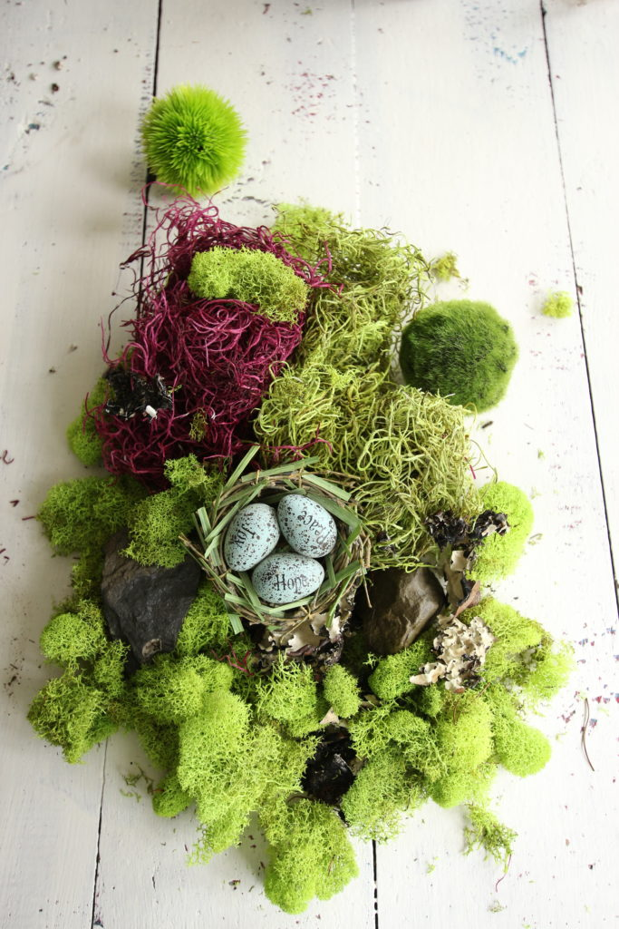 gerbera_daisies_container_garden_spring_easter_planter_flowers_moss_eggs_nest