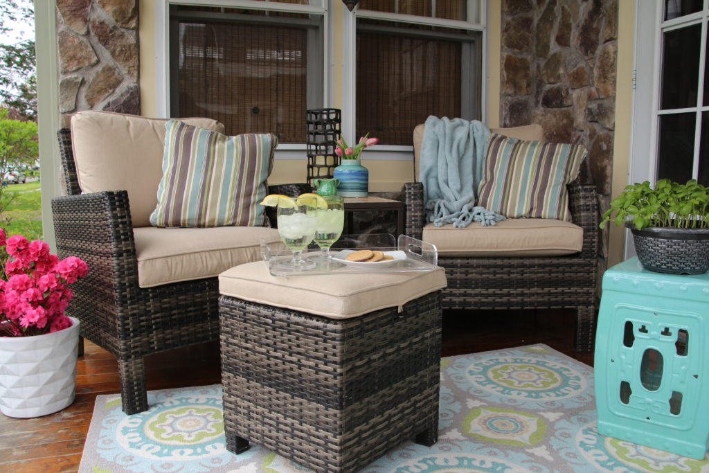 In The Middle Of The Two Outdoor Chairs We Placed The Jenison Accent Table  With Ceramic Mosaic Top. A Narrow Cleaned Lined Table That Can Also  Withstand The ...