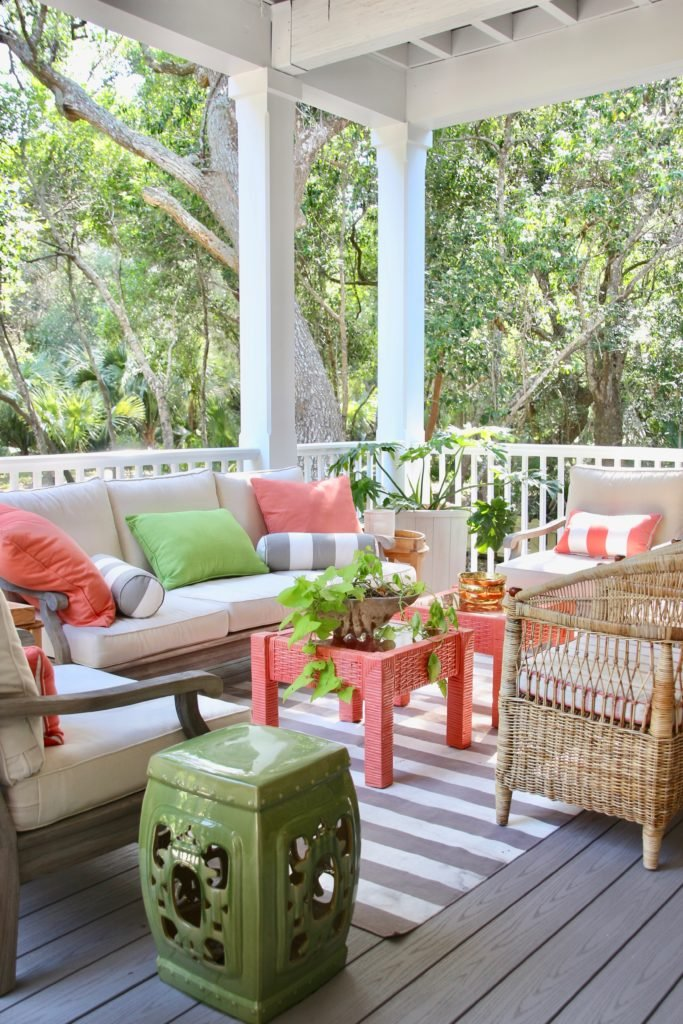 Southern _living_Idea_House_2017_Delta_faucet_bald_head_island_Meme_hill_screened_porch_patio_wicker_rattan_Azek_flooring_gray_chair
