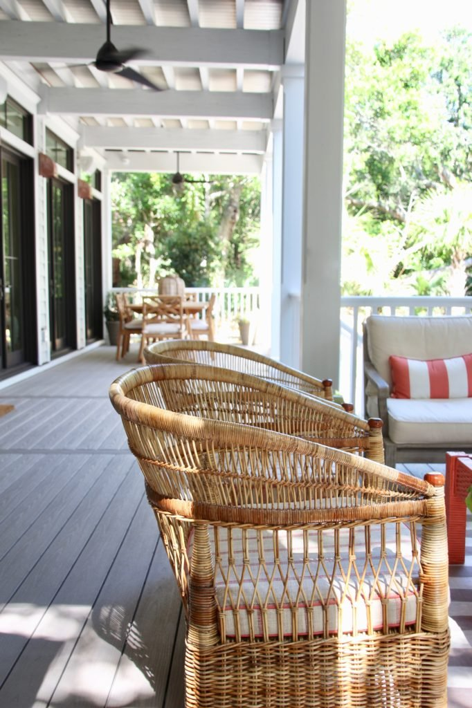 Southern _living_Idea_House_2017_Delta_faucet_bald_head_island_Meme_hill_screened_porch_patio_wicker_rattan_azek_flooring_chair