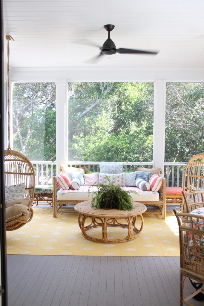 Southern _living_Idea_House_2017_Delta_faucet_bald_head_island_Meme_hill_screened_porch_patio_wicker_rattan_hanging_chair_daybed