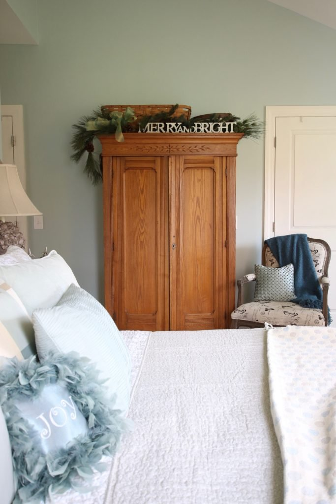 Christmas_bedroom_gorgeous_Turquoise_Makeover_bedding_bonTon_Laura_ashley_Meme_hill_Amie_freling_Tree_Bird_art_Monarch_chair_raymour_flanigan_anitque_armoire
