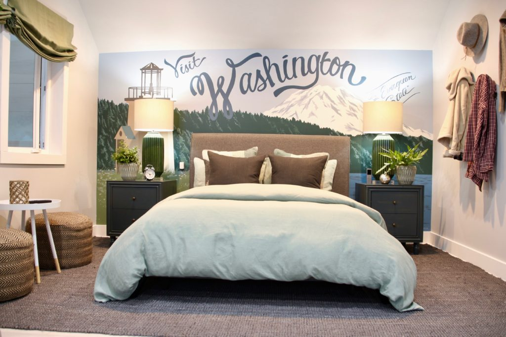 HGTV_Dream_home_Seattle_WA_Gig_Harbor_2018_Delta_faucet_amie_freling_meme_hill_brian_patrick_flynn_Mater_bedroom_mural_celerie_jones