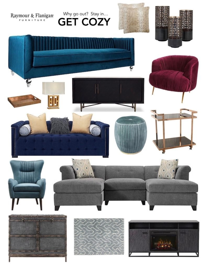 Warm And Cozy Dining Room Moodboard: RF Jan Get Cozy Mood Board_raymour_flanigan_velvet_barcart_sofa_gold_chic_glam_furniture