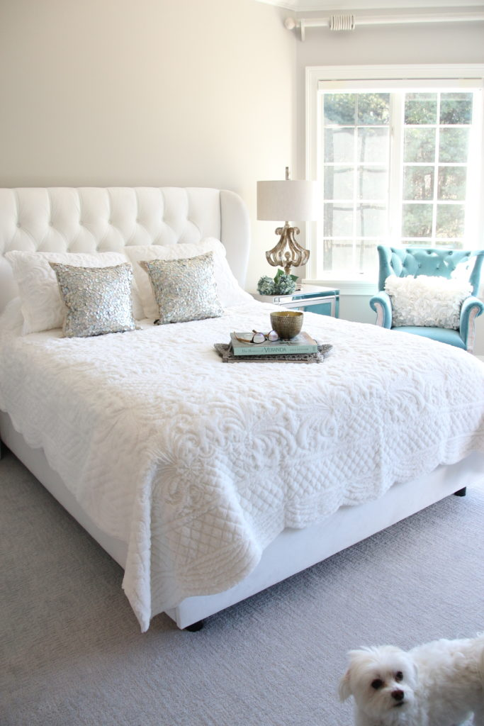 Meme_HIll_studio_amie_Freling_Raymour_flanigan_White_glam_bedroom_gorgeous_Thayer_upolstered_bed