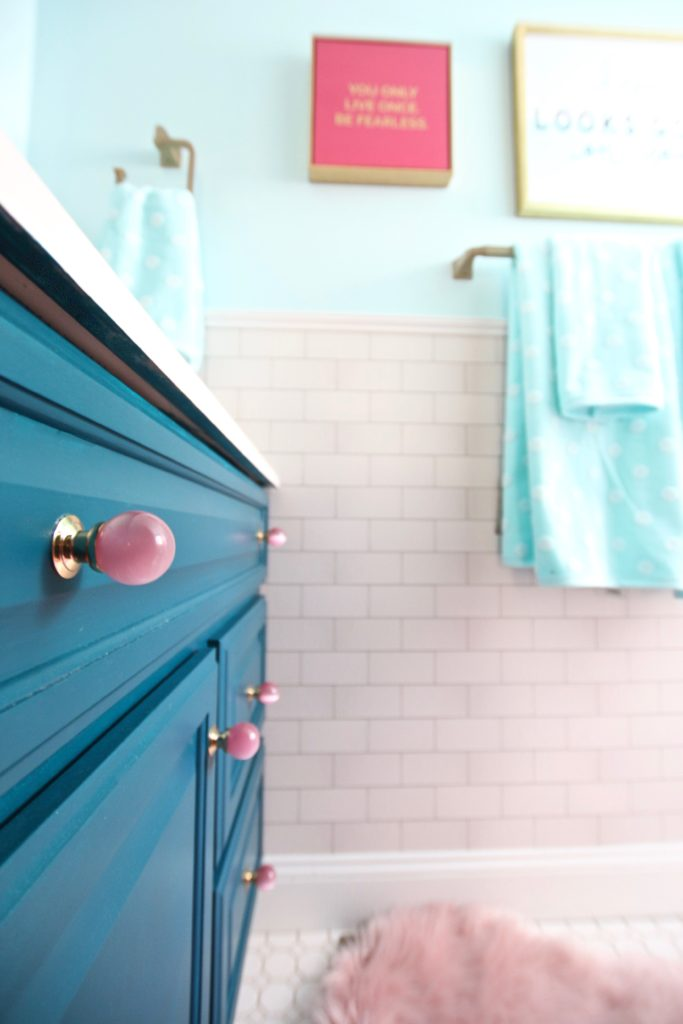 Meme_Hill_bathroom_teen_Makeover_pink_turquoise_subway_tile_glam_chic_gold_cabinet_drawer_knob_quality_bath