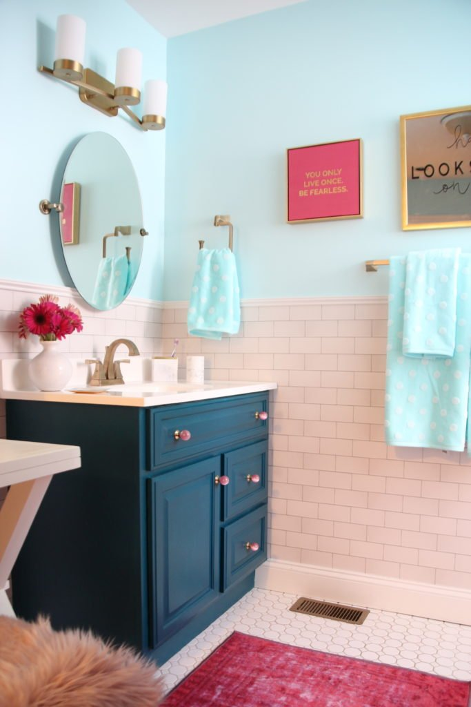 Meme_Hill_bathroom_teen_Makeover_pink_turquoise_subway_tile_glam_chic_gold_delta_faucet