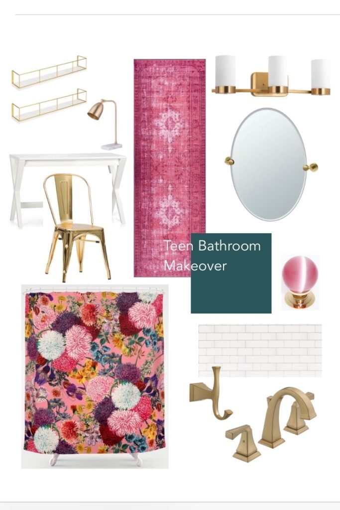 Meme_Hill_bathroom_teen_Makeover_pink_turquoise_subway_tile_glam_chic_gold_delta_faucet_Dryden_Society_6_shower_curtain_champagne_bronze_bath