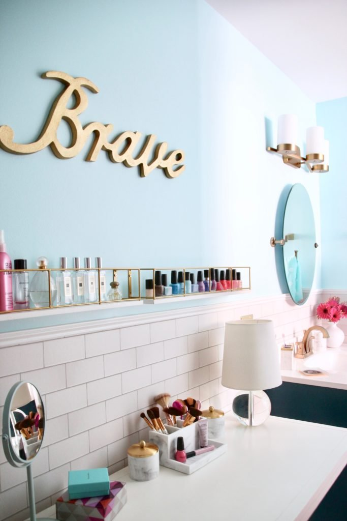 Meme_Hill_bathroom_teen_Makeover_pink_turquoise_subway_tile_glam_chic_gold_delta_faucet_Dryden_champagne_bronze_brave_makeup