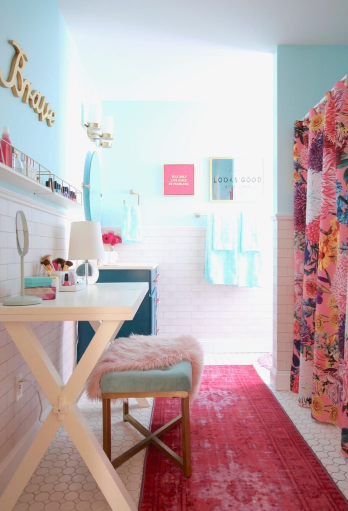 Meme_Hill_bathroom_teen_Makeover_pink_turquoise_subway_tile_glam_chic_gold_delta_faucet_Dryden_champagne_bronze_fau_fur_rug