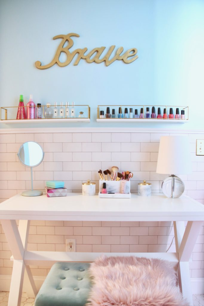 Meme_Hill_bathroom_teen_Makeover_pink_turquoise_subway_tile_glam_chic_gold_delta_faucet_Dryden_champagne_bronze_makeup_table