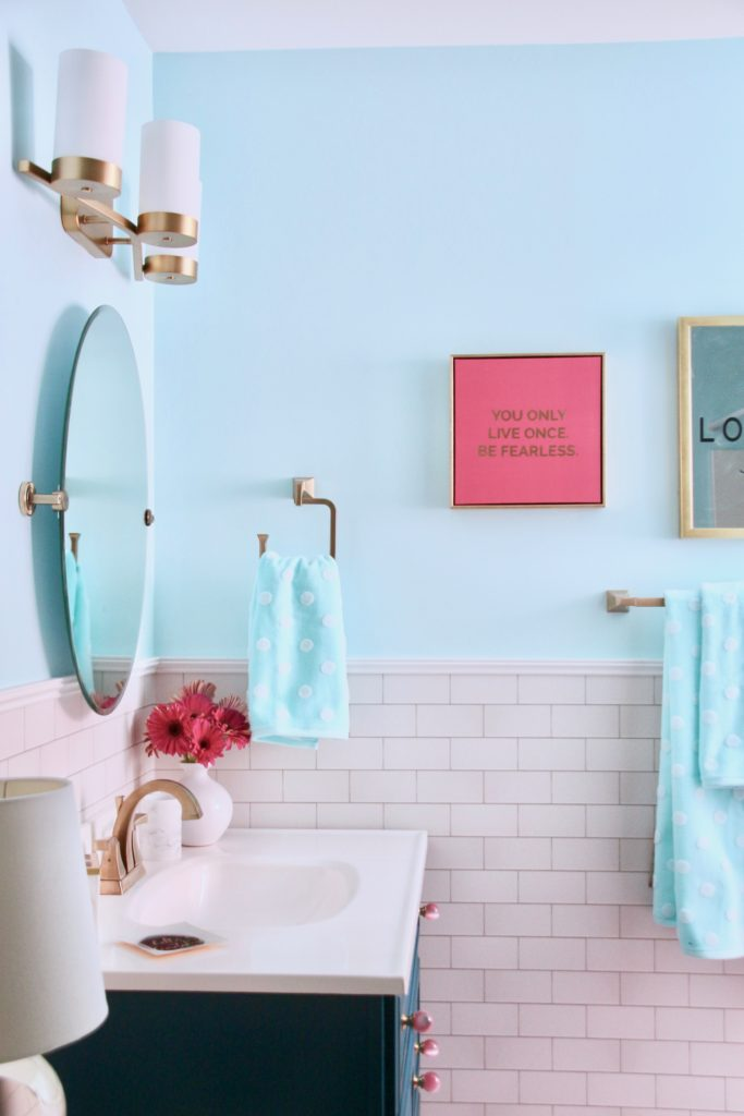 Meme_Hill_bathroom_teen_Makeover_pink_turquoise_subway_tile_glam_chic_gold_delta_faucet_Dryden_champagne_bronze_towwls_homegoods