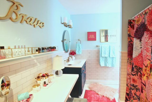 Meme_Hill_bathroom_teen_Makeover_pink_turquoise_subway_tile_glam_chic_gold_delta_faucet_Dryden_champagne_bronze_valentines_day
