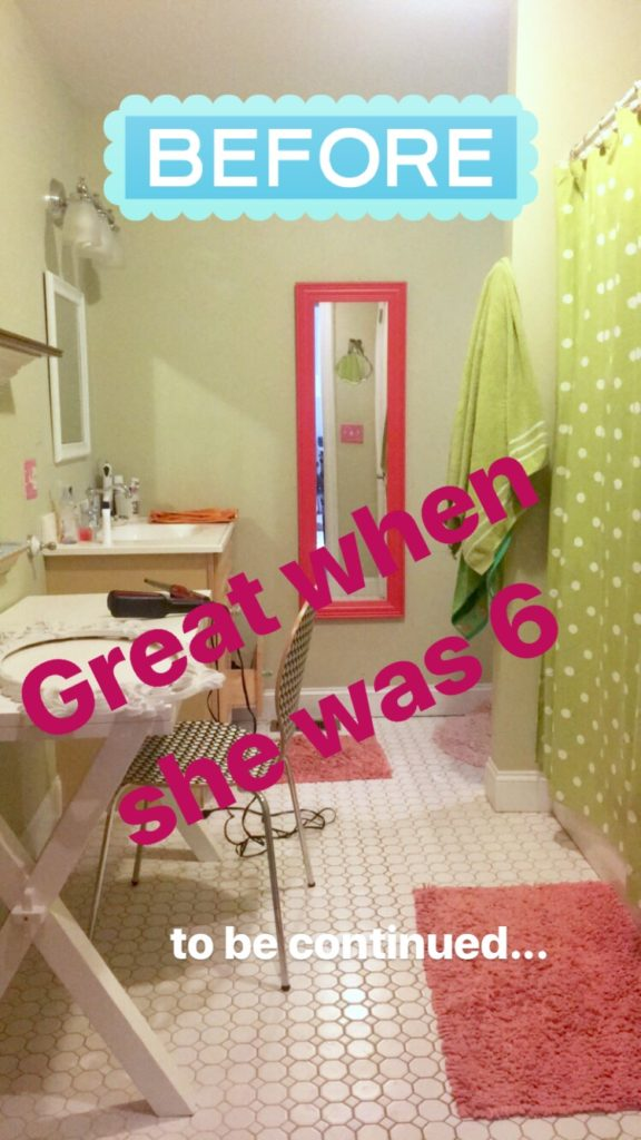 Meme_Hill_bathroom_teen_Makeover_pink_turquoise_subway_tile_glam_chic_gold_delta_faucet_floral_shower_curtain_makeup_before